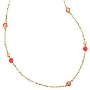 Tory Burch Lacquered Logo Pearl Necklace in Coral